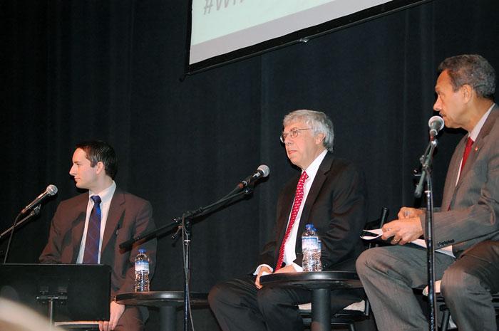 Moderator Ben Bradford, Larry Hyatt, Rep. Mel Watt