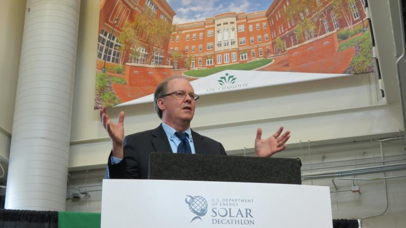 Richard King, director of the U.S. Department of Energy's Solar Decathlon, spoke at a groundbreaking ceremony at UNC Charlotte on Friday.
