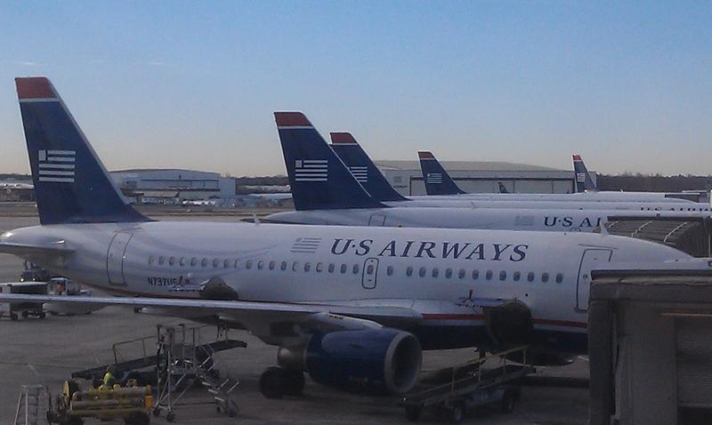 US Airways jets at their gates at Charlotte Douglas International Airport.
