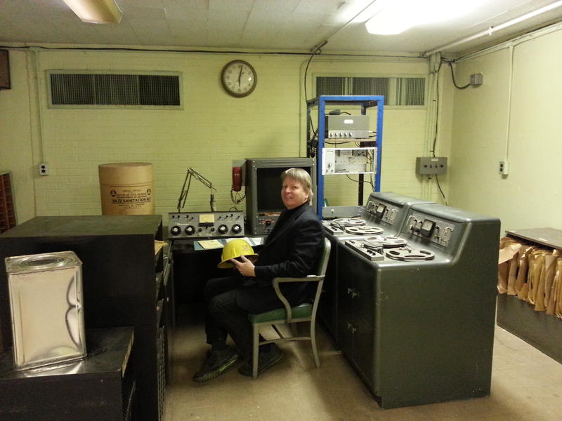 WBT chief engineer Jerry Dowd sits at the console of the station's government-funded emergency shelter built in 1963 in the event of a nuclear attack.