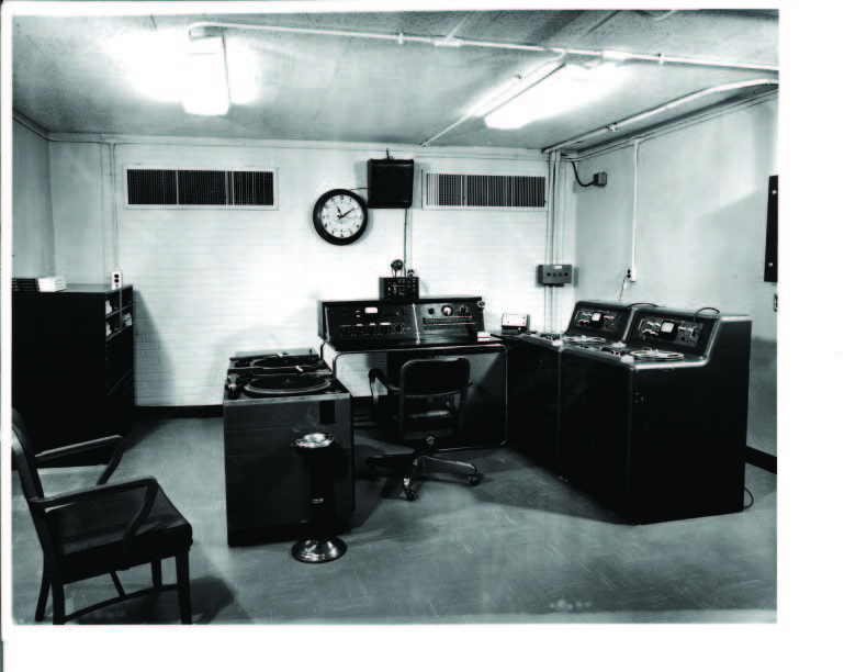 A photo of WBT's bomb shelter as it looked in 1963.