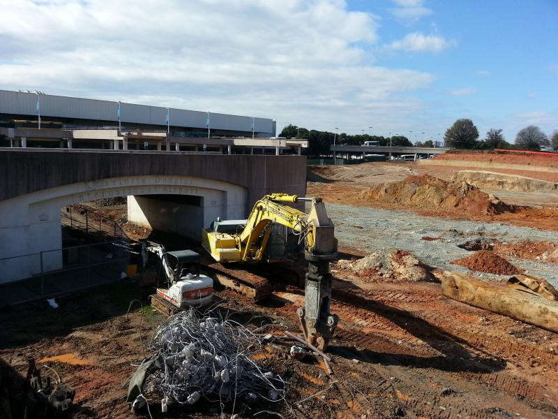 Construction is underway on a new parking deck at CLT.