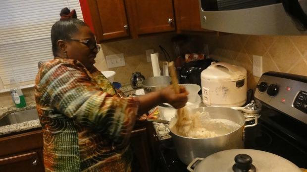 Theresa Macon pulls the fufu