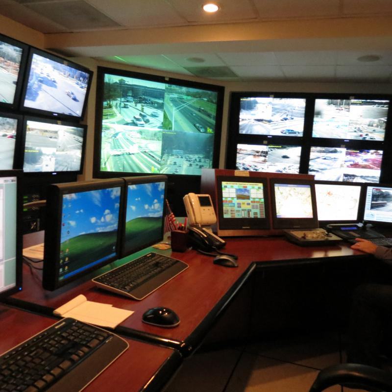 Nine TV displays and several computers are used to monitor the traffic in control room in the old city hall.