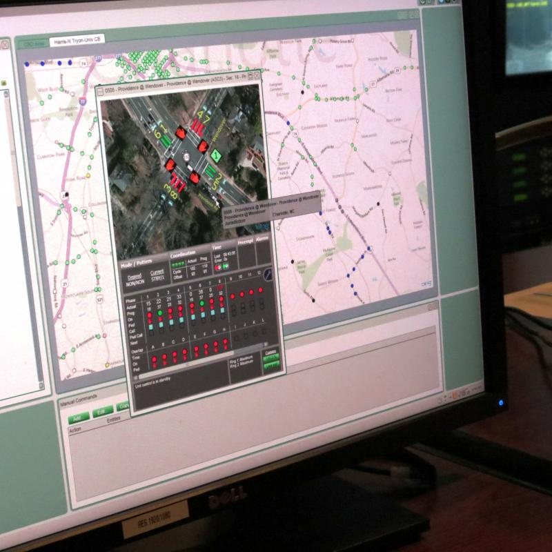 Changes to individual intersections or groups of intersections can be made using the central system software program called Centracs. It is connected to 90 percent of the traffic signals (green dots) in Charlotte. Blue dots show a lost connection.