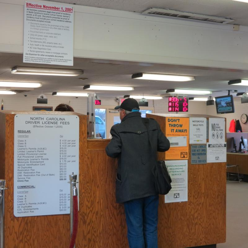 The DMV office was busy as usual on Monday morning.