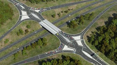 A view of a diverging diamond interchange from above