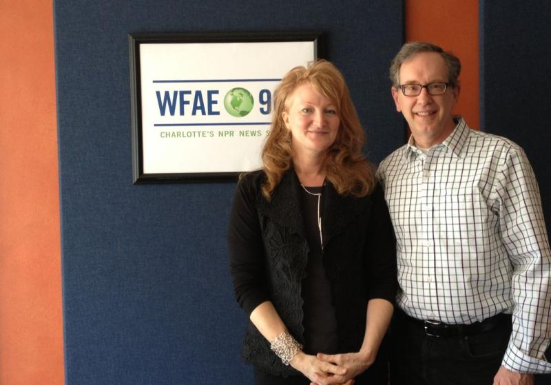 "Mike with our guest today, Krista Tippett, host of public radio's ""On Being."""