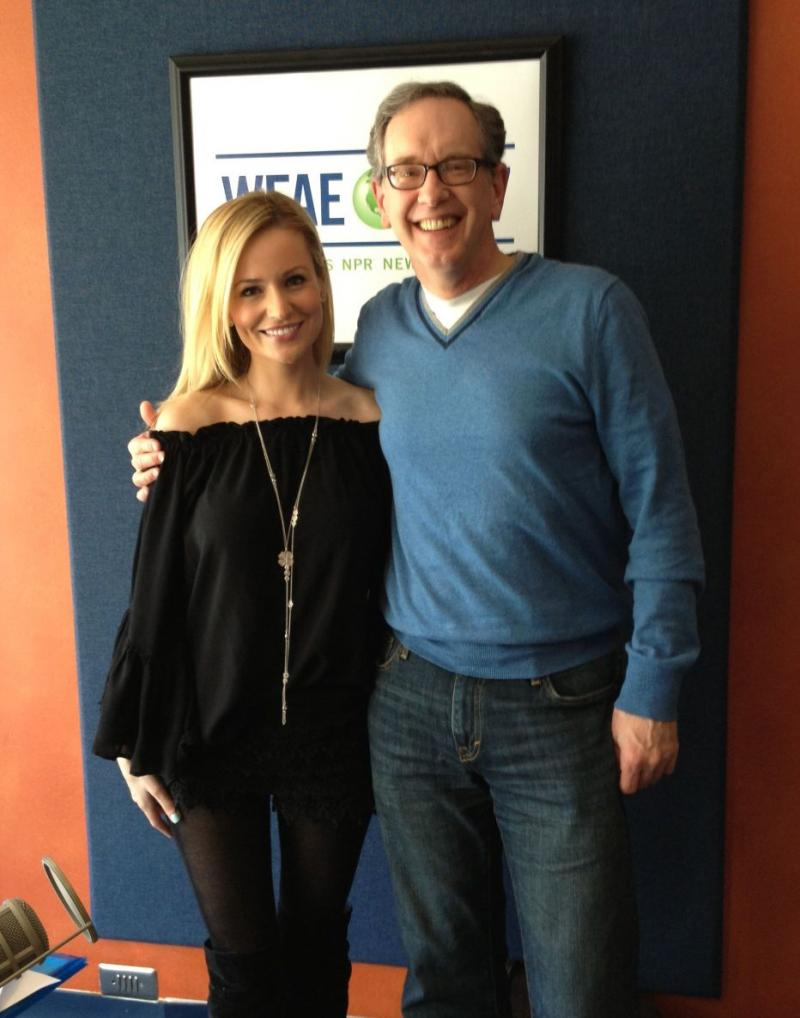 Reality TV meets public radio? Mike Collins with Emily Maynard, a Charlotte resident and former contestant on ABC's The Bachelor and The Bachelorette.