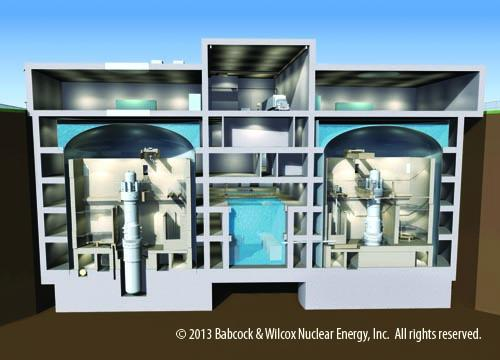 A conceptual drawing of an underground containment structure housing two B&W Mpower reactor modules