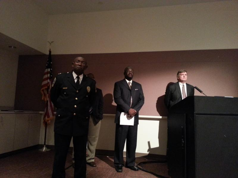 CMP Chief Rodney Monroe hears feedback from the Charlotte City Council on the police department's Citizens Review Board. Willie Ratchford (c) heads the city's Community Relations Committee. Julian Wright (r) is an attorney for the Citizens Review Board.