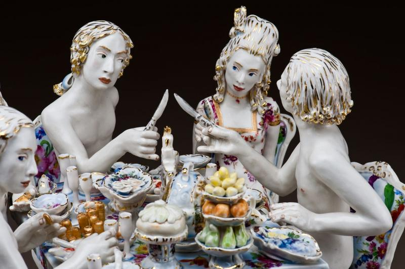 Chris Antemann. American, 1970Feast of Impropriety 2010 Porcelain Collection of Yvonne and Richard McCracken.