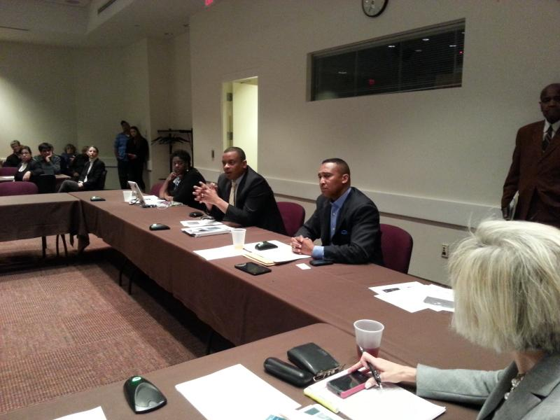 Mayor Anthony Foxx and Mayor Pro-Tem Patrick Cannon (r) discuss the role and powers of the Citizens Review Board on 4/1/13.