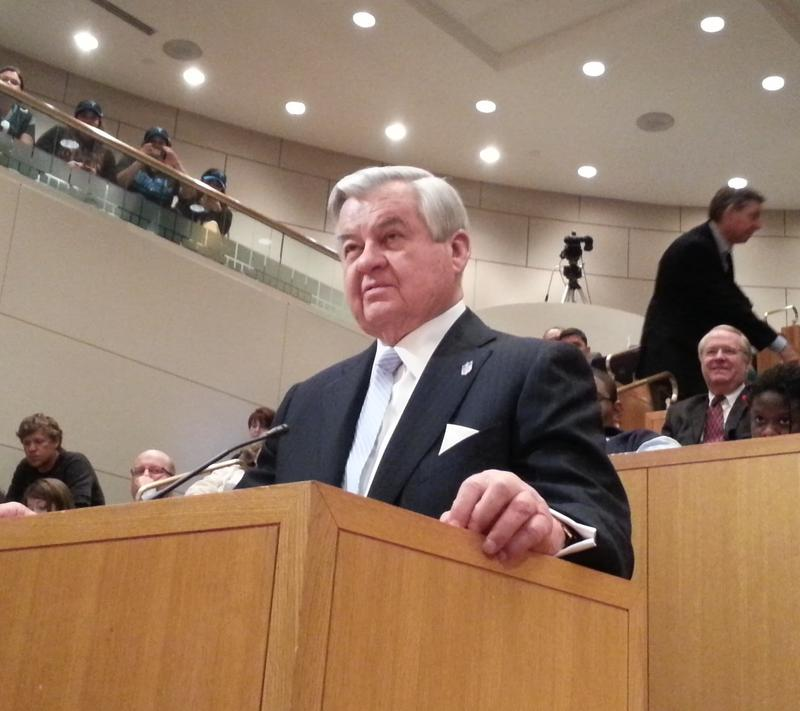 Carolina Panthers owner Jerry Richardson thanks the Charlotte City Council for committing tax dollars to renovate the stadium at a final meeting approving the deal on April 22, 2013.