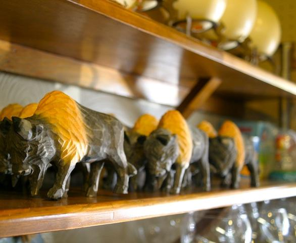 Wood-carved buffalo in honor of the bison herds at Wichita Mountain Wildlife Refuge.