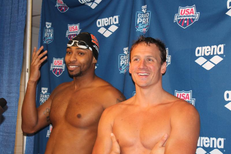Cullen Jones and Ryan Lochte joke around after the races.