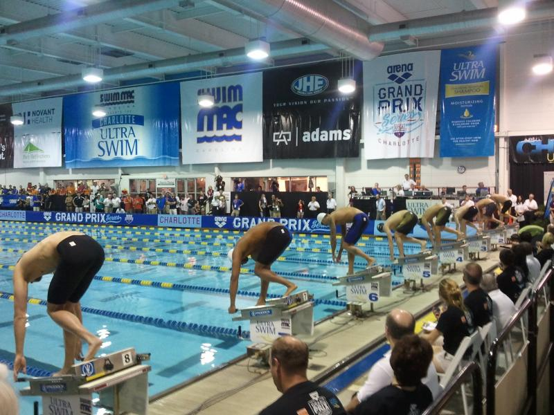 Swimmers take the starting blocks at the Charlotte UltraSwim