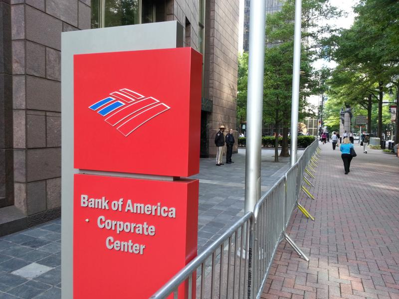 Bank of America corporate buildings were barricaded on Wednesday morning in anticipation of protests at the annual shareholder's meeting in Charlotte.