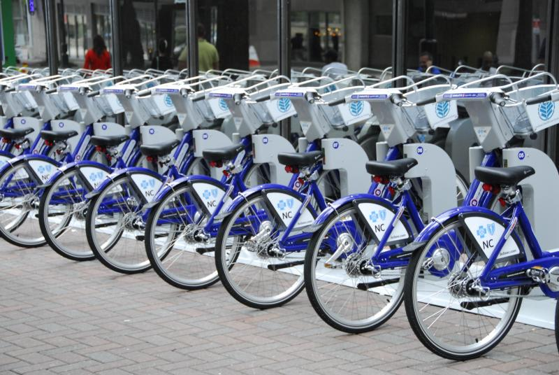 B-Cycles at the Trade & Tryon station in uptown Charlotte