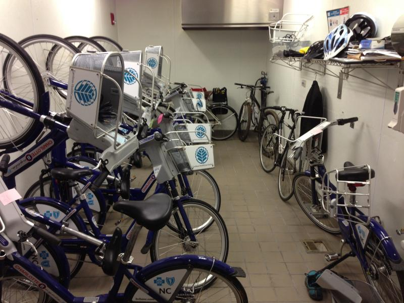 "B-Cycles with more serious problems go to the ""bike hospital"" at the uptown Hub."