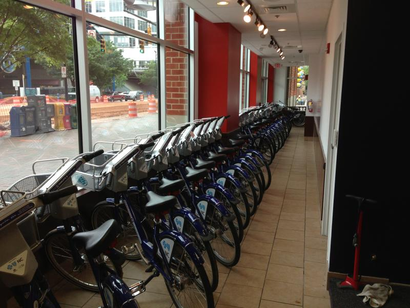 B-Cycles lined up for maintenance.