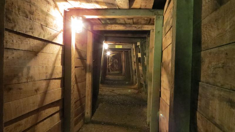 The tunnels underground at the Reed Gold Mine.