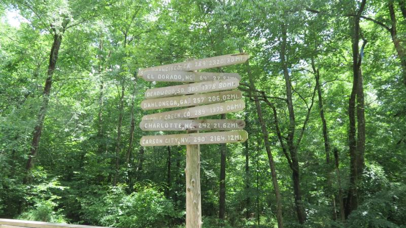 A sign points out the direction and distance of other gold mines in the U.S.