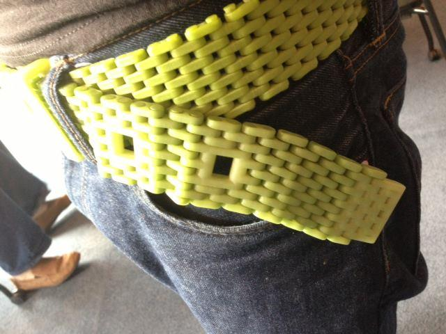 One of our guests today is wearing a belt that he printed entirely, as one piece, from 3D printer.
