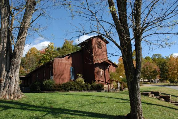 Love Valley Presbyterian Church, the first building built in the town