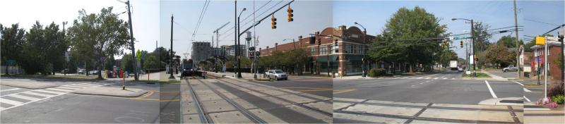 That same intersection (West Blvd and Camden Road) after light rail arrived in 2007.