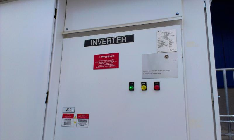 The solar panel inverter converts solar energy to electricity for the IKEA store in Charlotte.