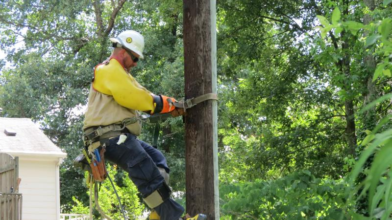 John Rowland of Duke Energy climbs a pole to check on the transformer in North Charlotte.