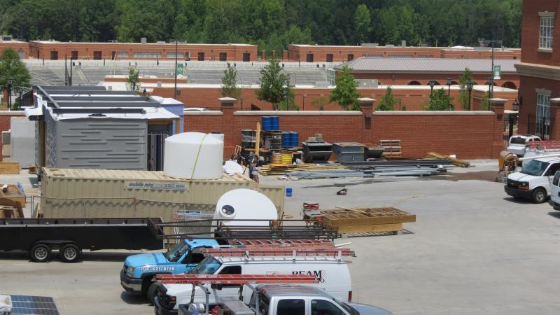 An aerial view of the construction site at the back of the EPIC building at UNC Charlotte.