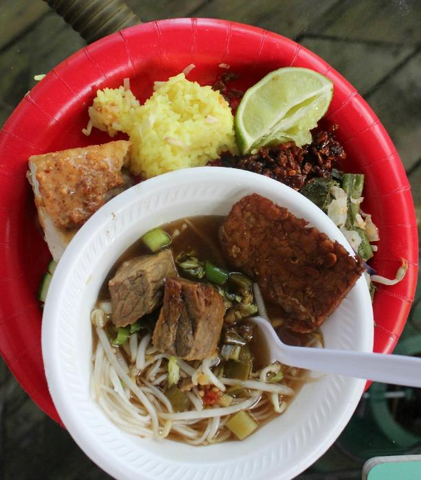 A plate full of Indonesian food