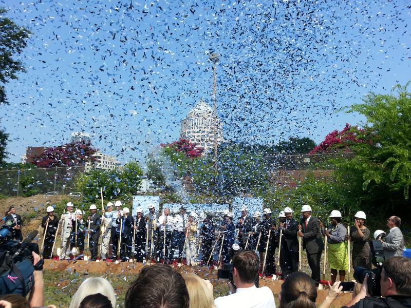 Confetti, golden shovels and congratulations marked the ceremonial groundbreaking for the Blue Line Extension on Thursday morning.