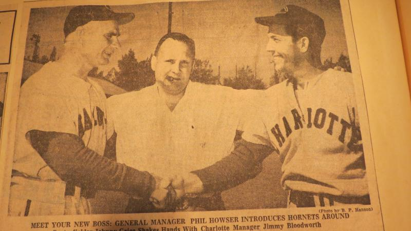 Charlotte Hornets GM Phil Howser (center) introduces manager Jimmy Bloodworth (left) to centerfielder Johnny Grice (right) in March, 1955.