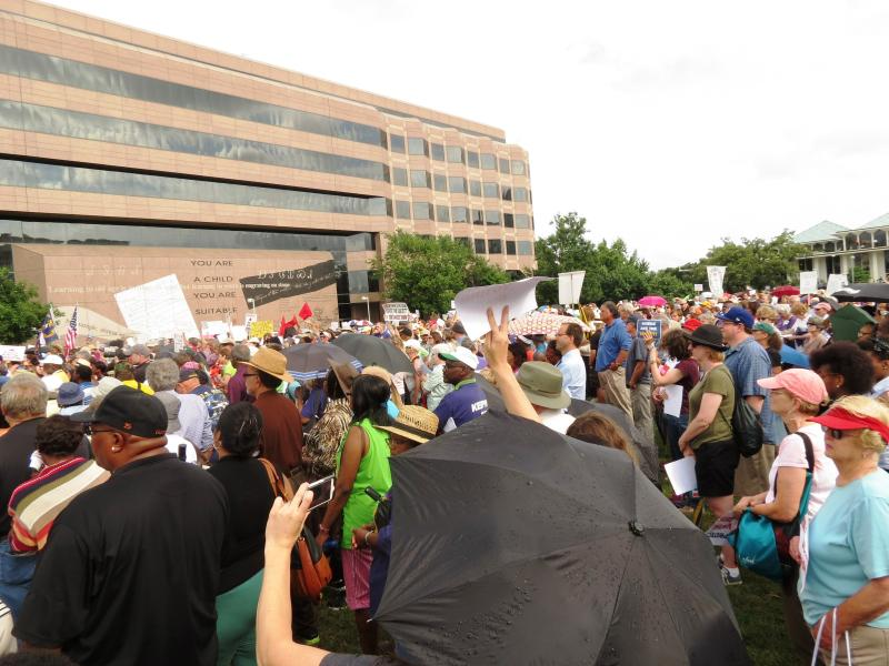 Police estimate about 1200 demonstrators turned out for Monday's protest.