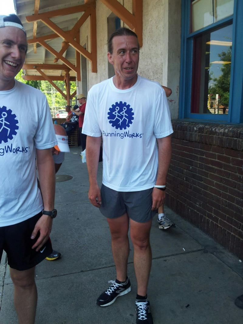Homeless runner Matthew Hoffman, right, ran a 50K in February.