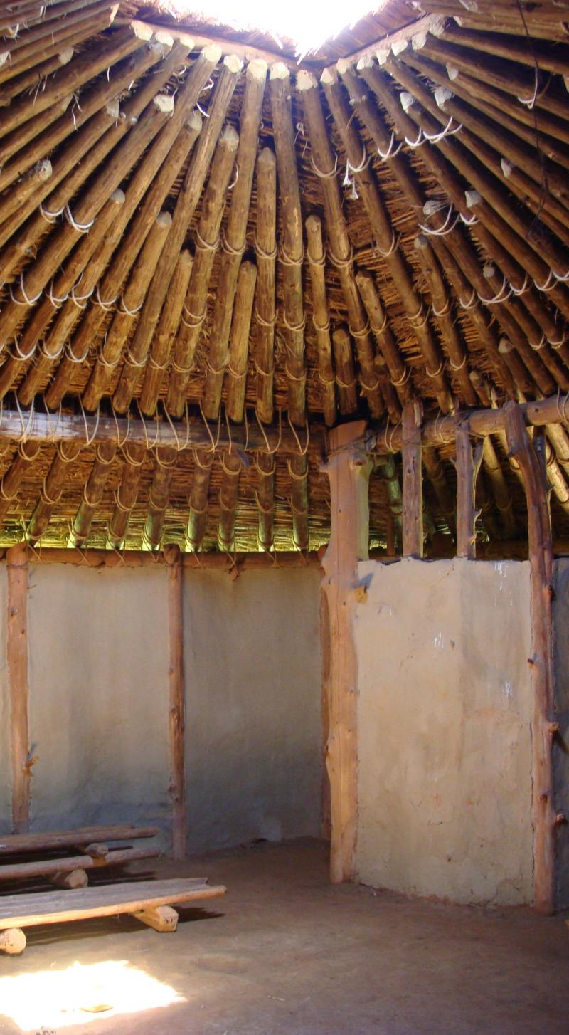 A view of the inside of a hut at Town Creek Indian Mound in Mount Gilead, N.C.