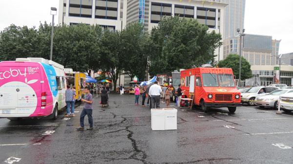 The Chow Down Uptown Foodtruck rally was held across the street during the Public Conversation. Attendees could enjoy foodtruck fare before or after the event.