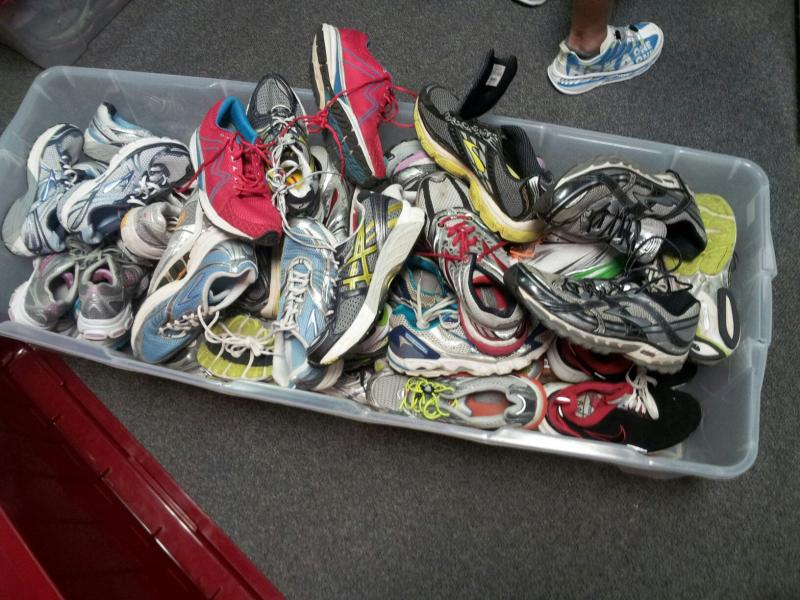 "Shoes donated to RunningWorks. Runners get to keep a pair after particpating in four runs and ""life skills"" sessions."