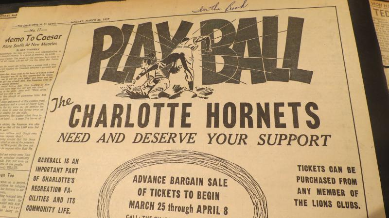 Charlotte Observer newspaper ad in March, 1957 sought to rally community support for the hometown team.