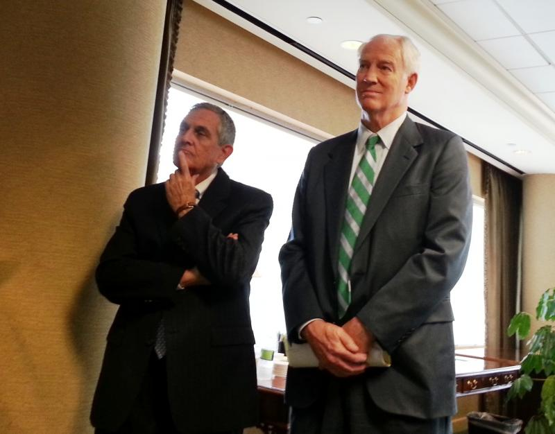 Former Charlotte Aviation Director Jerry Orr (l) held a press conference Friday afternoon with his attorney Richard Vinroot (r).