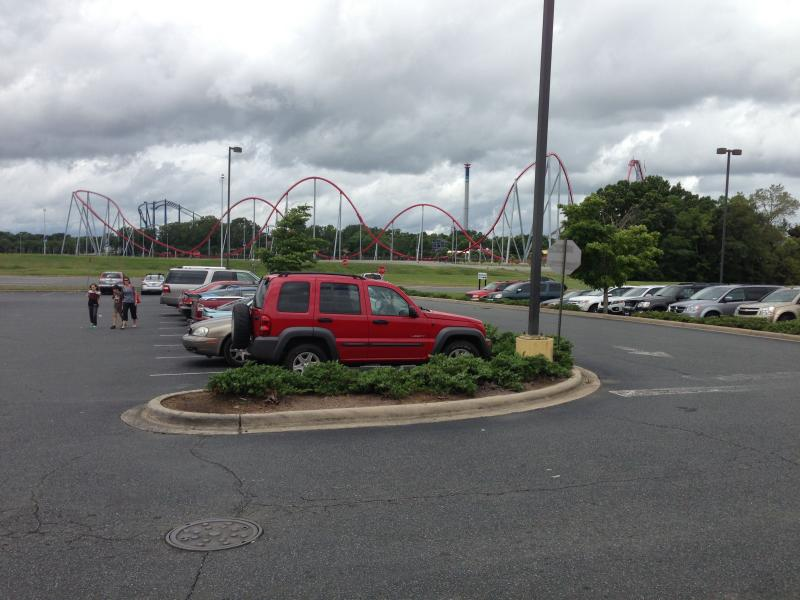 Carowinds is just across the parking lot from Plaza Fiesta
