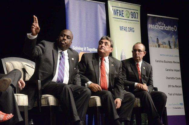 Panelists (from left), Sen. Malcolm Graham, Sen. Bob Rucho,   Sen. Jeff Tarte, take questions from the audience during Wednesday   night's community forum hosted by The Charlotte Observer and PNC   Bank with legislators held at CPCC Pease Auditorium.