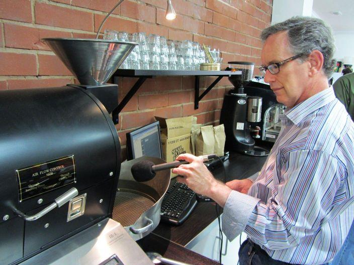 Mike recording the coffee roaster - you can hear the beans popping. At Boquete Mountain Coffee Roasters.