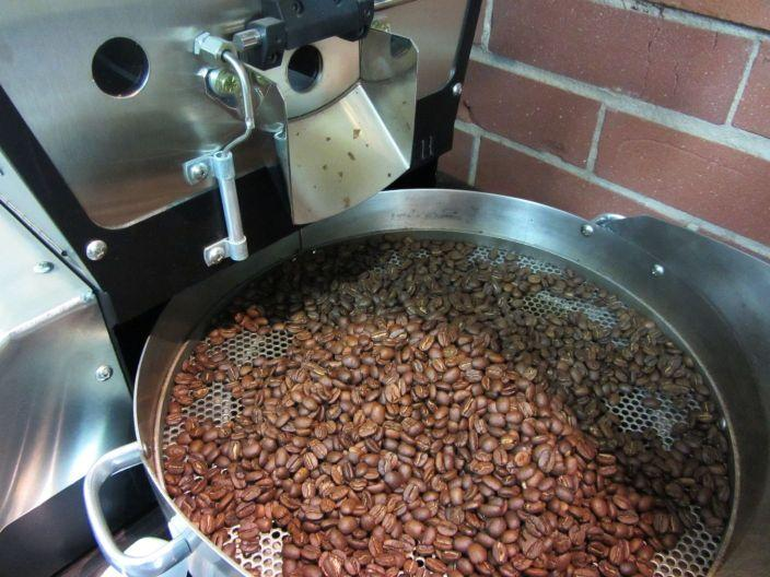 After: the coffee beans cool after a trip in the roaster at Boquete Mountain Coffee Roasters.