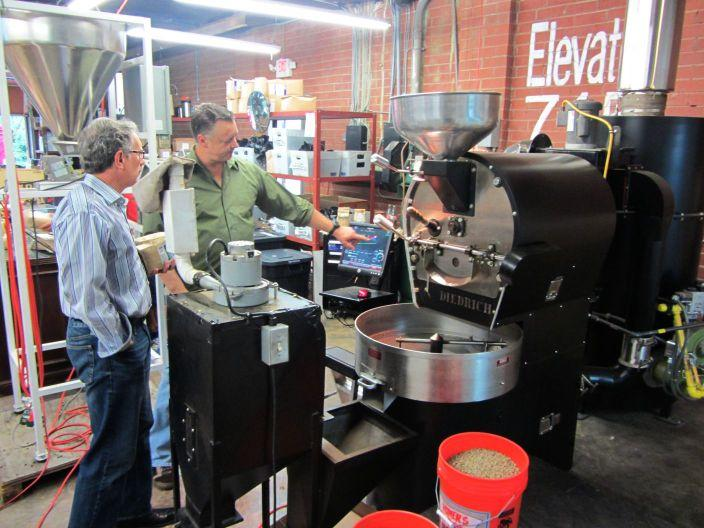 The BIG bulk coffee roaster at Boquete Mountain Coffee Roasters.