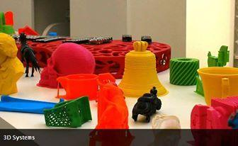 Plastic trinkets printed with a 3D printer.
