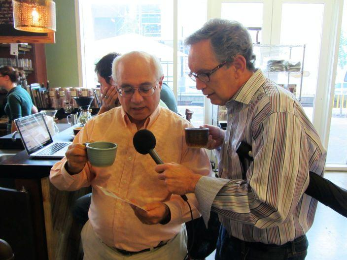Mike and Peter try a cup of coffee brewed with the pour over method at Not Just Coffee.